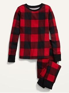 Gender-Neutral Matching Plaid Snug-Fit Pajamas for Kids