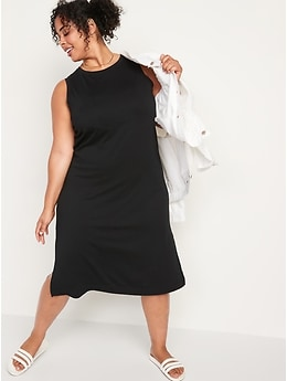 Loose Vintage Sleevleess T-Shirt Midi Shift Dress for Women