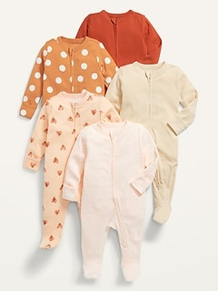 Unisex 5-Pack Sleep & Play Footed One-Piece for Baby