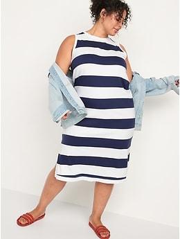 Vintage Sleeveless Striped Midi Shift Dress for Women