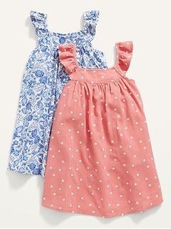 Printed Flutter-Sleeve Dress 2-Pack for Toddler Girls