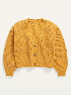 Cropped Space-Dye Button-Front Cardigan Sweater for Girls