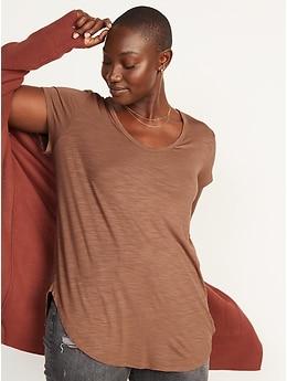 T-shirt-tunique luxueux en tricot flammé à col enV plongeant pour Femme