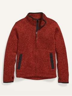 Mock-Neck Sweater-Fleece Zip-Front Jacket For Boys