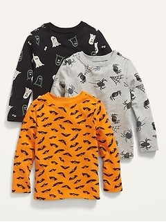 3-Pack Long-Sleeve Halloween-Print T-Shirt for Toddler Boys