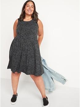 Sleeveless Printed Jersey-Knit Swing Dress for Women