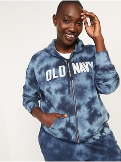 Logo-Graphic Specially-Dyed Zip-Front Hoodie for Women
