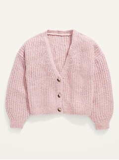 Cropped Button-Front Cardigan Sweater for Girls