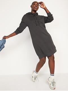 Hooded Mini Sweatshirt Shift Dress for Women