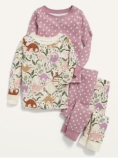 Unisex 4-Piece Printed Pajama Set for Toddler & Baby
