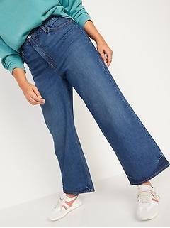 Jean court à jambe large et taille très haute au fini moyen pour Femme