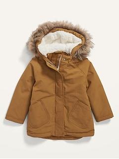 Unisex Faux-Fur-Trim Hooded Parka Coat for Toddler