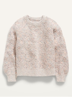 Textured Shaker-Stitch Space-Dye Sweater for Girls
