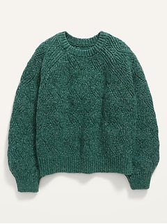 Textured Shaker-Stitch Sweater for Girls