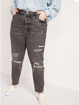 Higher High-Waisted Button-Fly O.G. Straight Ripped Gray Non-Stretch Jeans for Women