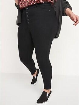 Jean noir coupé cheville Rockstar super ajusté, extensibilité 360°, taille très haute à boutons pour Femme