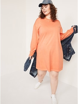 Loose Vintage Garment-Dyed Long-Sleeve T-Shirt Shift Dress for Women