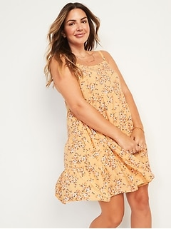 Sleeveless Tiered Floral Swing Dress for Women