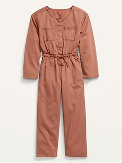 Long-Sleeve Twill Utility-Pocket Jumpsuit for Girls