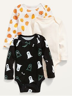 Unisex 3-Pack Long-Sleeve Bodysuit for Baby