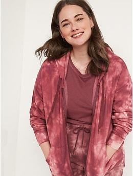 Chandail confort à capuchon et à glissière à l'avant spécialement teint de style rétro pour Femme