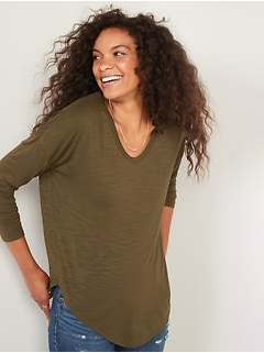 Luxe Long-Sleeve Voop-Neck Tunic T-Shirt for Women