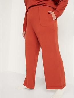 Pantalon de pyjama en tricot douillet à jambe large et taille haute pour Femme