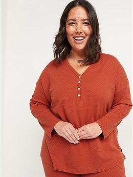 Oversized Pointelle-Knit Henley Pajama Top for Women