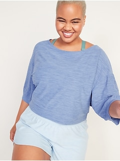 Breathe ON Cropped Elbow-Sleeve Performance Top for Women