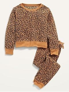 Printed Micro Fleece Pajama Top & Pajama Joggers Set for Girls