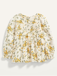 Long-Sleeve Smocked Floral Swing Top for Toddler Girls