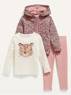 3-Piece Zip Hoodie, Long-Sleeve T-Shirt & Leggings Set for Toddler Girls