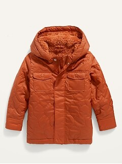 Hooded Sherpa-Lined Quilted Jacket for Toddler Boys