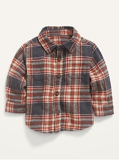 Long-Sleeve Plaid Utility Shirt for Baby