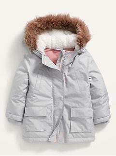 Faux-Fur-Trim Hooded Parka for Toddler Girls