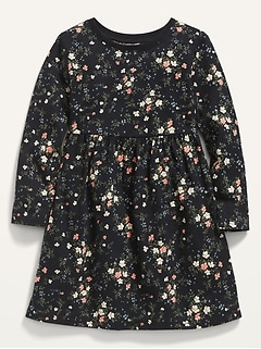 Long-Sleeve Fit & Flare Printed Dress for Toddler Girls