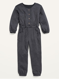 Cozy Long-Sleeve Button-Front French Terry Jumpsuit for Girls