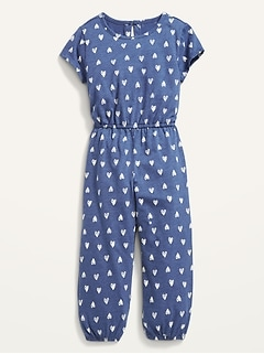 Short-Sleeve Cinched-Waist Printed One-Piece for Toddler Girls
