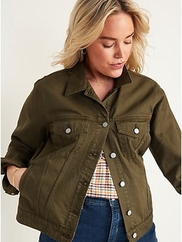 Olive Green Non-Stretch Jean Jacket for Women