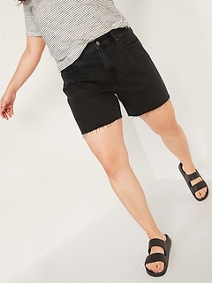 High-Waisted Slouchy Cut-Off Black Jean Shorts for Women -- 5-inch inseam