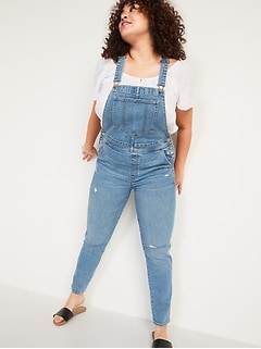O.G. Workwear Straight Medium-Wash Ripped Jean Overalls for Women