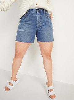 High-Waisted Slouchy Straight Cutoff Jean Shorts for Women -- 5-inch inseam