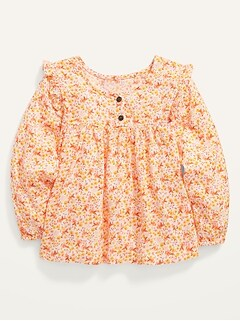 Floral-Print Ruffle-Trim Blouse for Toddler Girls