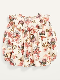 Long-Sleeve Ruffle-Trim Floral Top for Toddler Girls