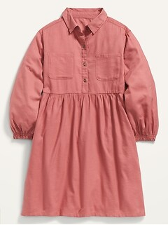Twill Long-Sleeve Shirt-Dress for Girls