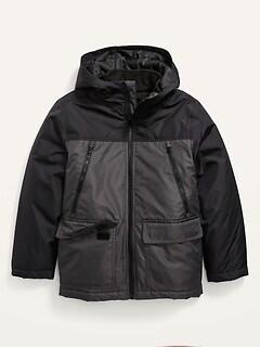 Gender-Neutral Water-Resistant Color-Blocked 3-in-1 Snow Jacket for Kids
