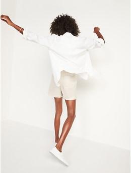 Short à taille haute en mélange de lin pour Femme (entrejambe 10cm)
