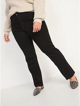 Jean noir, coupe droite étroite, à taille moyenne pour femme