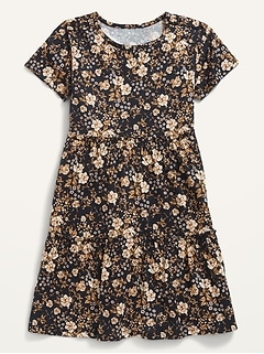 Tiered Printed Short-Sleeve Dress for Girls
