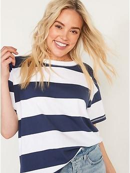 T-shirt confort rétro coupe ample rayé à manches courtes pour Femme